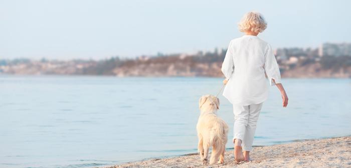 Senior woman and big dog walking on riverside