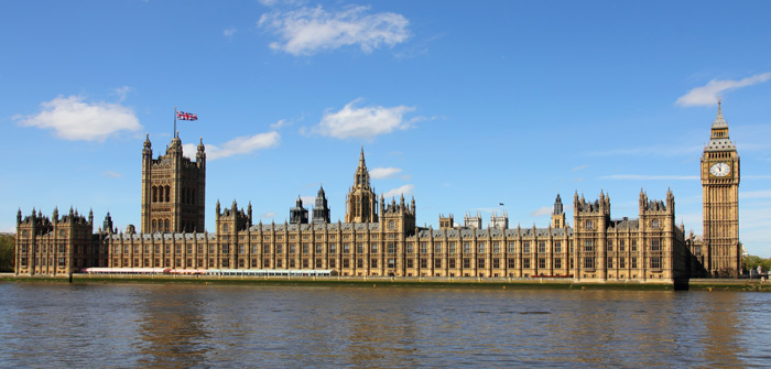 Houses of Parliament and Big Ben in Westminster, London.