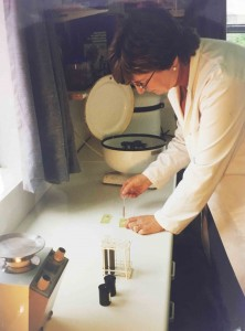 Gillian Booth testing in the old laboratory (circa 1999)