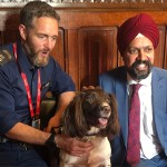 Tan Dhesi MP for Slough with Metropolitan Police dog and handler