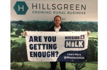 Andy Venables with one of the Mission4Milk banners which will be