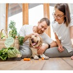 Couple with dog and vegetables