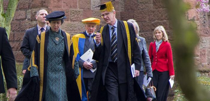 HRH The Princess Royal and Vice Chancellor Dr David Llewellyn during the Chancellor's last visit