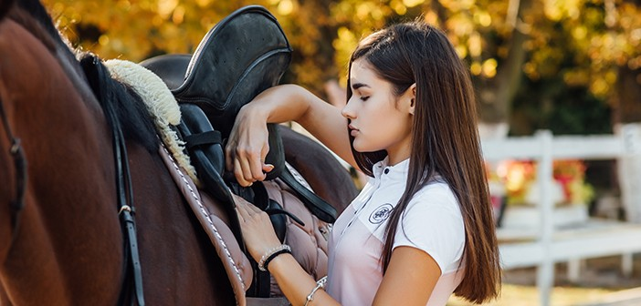 Girl rider ready for climbs a horse in the forest.
