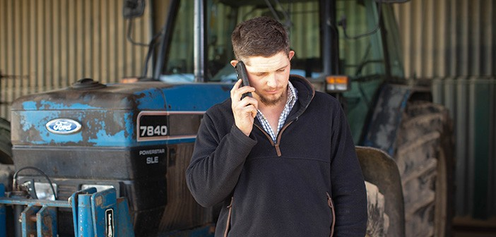 Farmer on phone